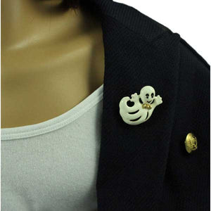 Model wearing Cream Enamel Happy Ghost with Gold Bowtie Halloween Brooch Pin - Lilylin Designs