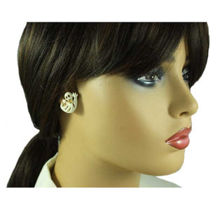 Model wearing Cream Happy Ghost with Gold Bowtie Halloween Pierced Earring - Lilylin Designs