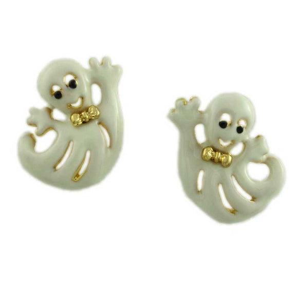 Cream Happy Ghost with Gold Bowtie Halloween Pierced Earring - Lilylin Designs
