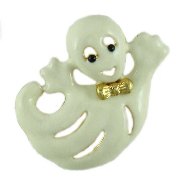 Cream Enamel Happy Ghost with Gold Bowtie Halloween Brooch Pin - Lilylin Designs