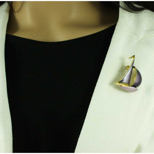 Model with Dark and Light Purple Enamel Sailboat Brooch Pin - Lilylin Designs