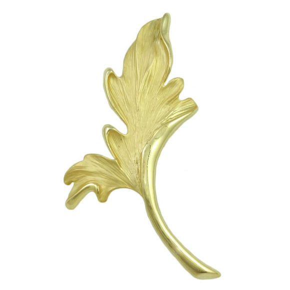 Matte Goldtone Curled Leaf Pin - Lilylin Designs