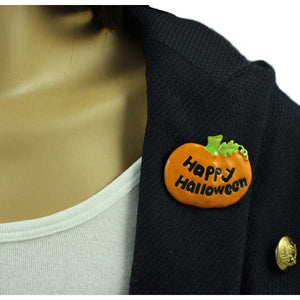 Model wearing Orange Enamel Painted Happy Halloween Pumpkin Brooch Pin - Lilylin Designs