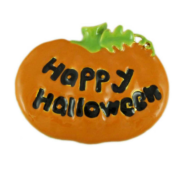 Orange Enamel Painted Happy Halloween Pumpkin Brooch Pin - Lilylin Designs