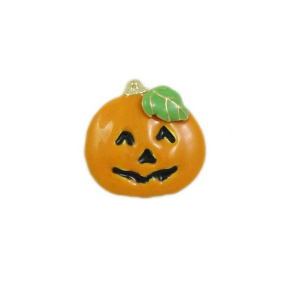 Orange Enamel Jack O Lantern Pumpkin Halloween Tac Pin - Lilylin Designs