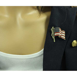 Model with Red, White, and Blue Enamel American Flag Patriotic Brooch Pin - Lilylin Designs