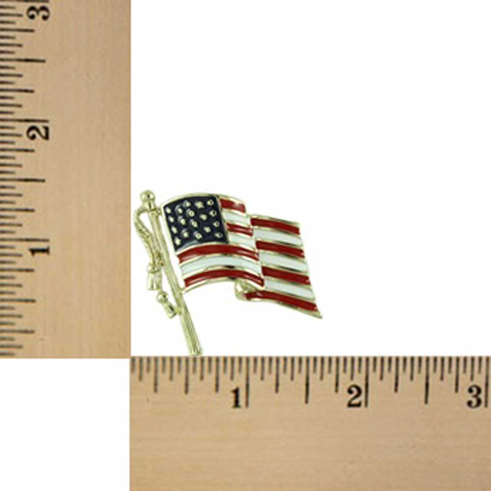 Red PF356 and Blue Enamel American Flag Patriotic Brooch Pin White