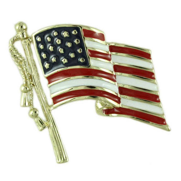 Red, White, and Blue Enamel American Flag Patriotic Brooch Pin - Lilylin Designs