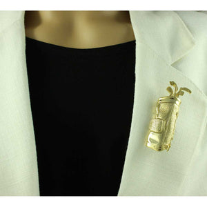 Model with Large Gold-plated Golf Bag with Rattling Golf Clubs Brooch Pin - Lilylin Designs