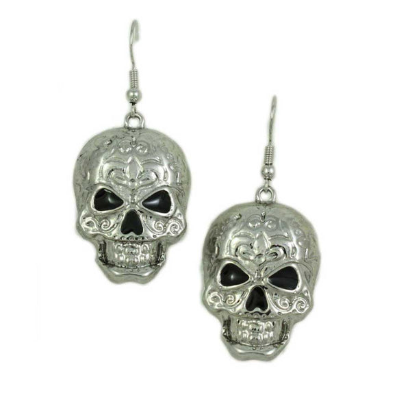 Antique Silver-tone Patterned Skull Dangling Pierced Earring - Lilylin Designs