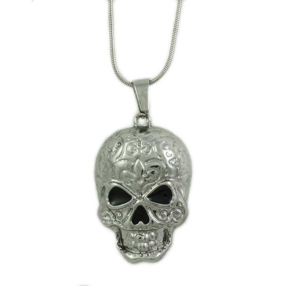 Silver Chain with Patterned Skull Pendant Halloween Necklace - Lilylin Designs