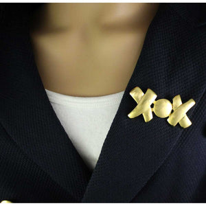 Gold-plated XOX Hugs and Kisses Pin (model) - Lilylin Designs