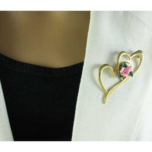 Model with Two Large Gold Hearts with Pink Fimo Clay Rose Brooch Pin - Lilylin Designs