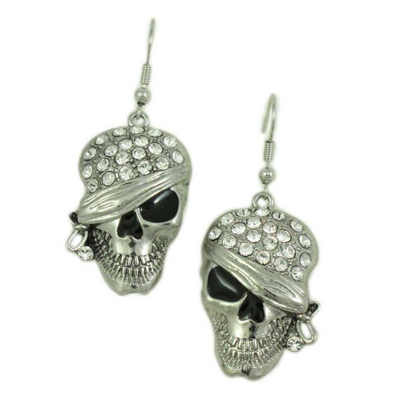 Crystal Bandaged Pirate Skull Halloween Pierced Earring - Lilylin Designs