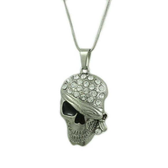 Chain with Crystal Bandaged Pirate Skull Halloween Necklace - Lilylin Designs