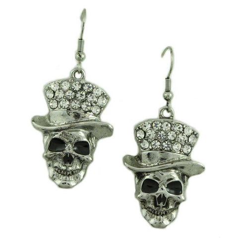 Skull with Crystal Hat Pierced Earring - Lilylin Designs