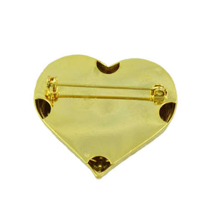 Antique Gold Heart with Black Enamel Inner Heart Brooch Pin (back) - Lilylin Designs