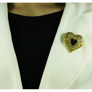 Model with Antique Gold Heart with Black Enamel Inner Heart Brooch Pin - Lilylin Designs