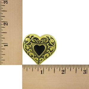 Antique Gold Heart with Black Enamel Inner Heart Brooch Pin (sized) - Lilylin Designs