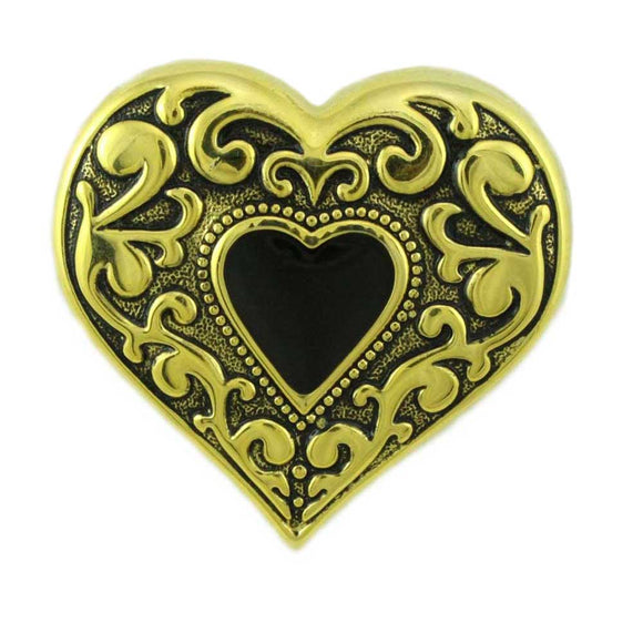 Antique Goldplated Black Heart Pin - Lilylin Designs
