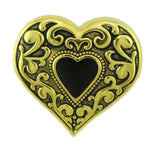 Antique Gold Heart with Black Enamel Inner Heart Brooch Pin - Lilylin Designs