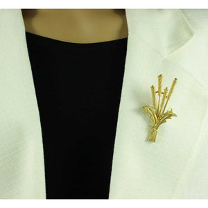 Model with Gold-plated Bushel of Wheat Brooch Pin - Lilylin Designs
