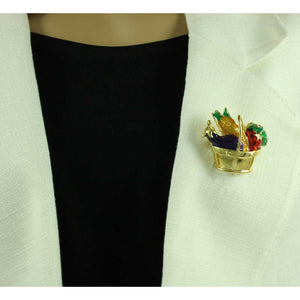 Model with Gold and Enamel Basket Full of Vegetables Brooch Pin - Lilylin Designs