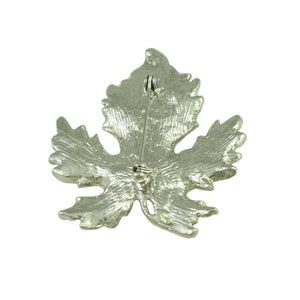 Silver-tone Maple Leaf Edged with Gold Brooch Pin (back) - Lilylin Designs