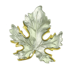 Silver-tone Maple Leaf Edged with Gold Brooch Pin - Lilylin Designs