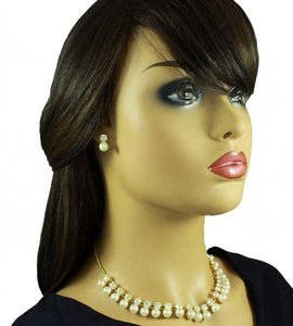 Model with White Dangling Pearls with Round Clear Crystals Necklace - Lilylin Designs