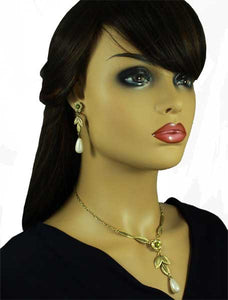 Model with Antique Gold Flower and Leaves with Dangling Teardrop Pearl Necklace and Earring - Lilylin Designs