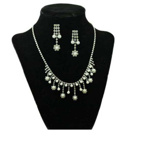 Crystal and Pearl Daisies Necklace and Pierced Earring Set - Lilylin Designs