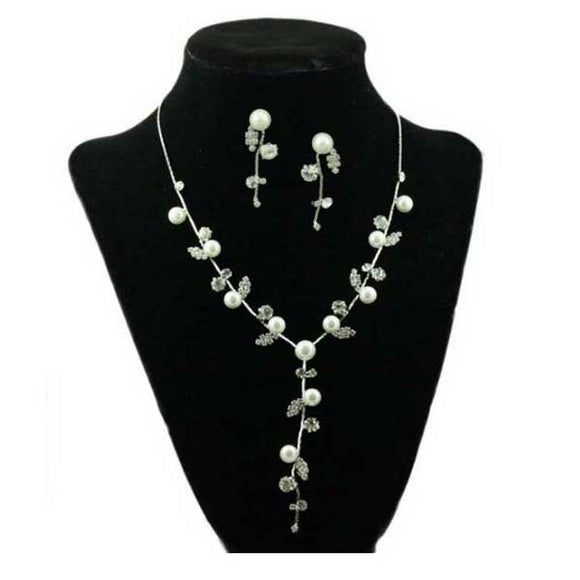 Crystal and Pearl Y Necklace and Pierced Earring Set - Lilylin Designs
