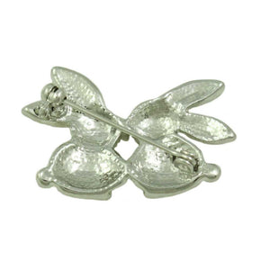 Silver-tone Crystal Kissing Bunnies Brooch Pin (back) - Lilylin Designs