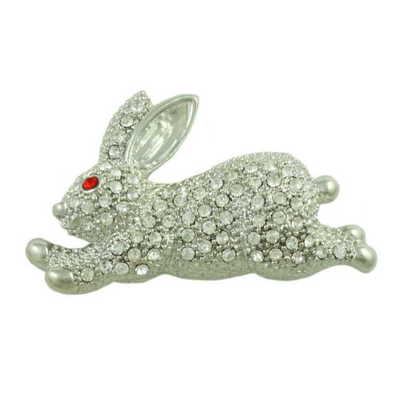 Crystal Large Leaping Bunny with Red Crystal Eye Brooch Pin - Lilylin Designs