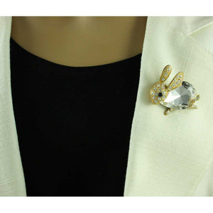 Model with Bunny with Large Clear Glass and Crystals Brooch Pin - Lilylin Designs