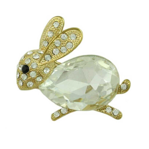 Bunny with Large Clear Glass and Crystals Brooch Pin - Lilylin Designs