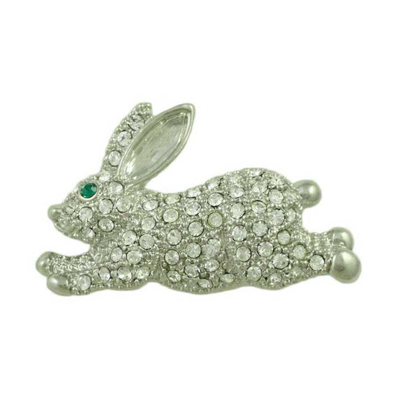Crystal Small Leaping Bunny Pin - Lilylin Designs