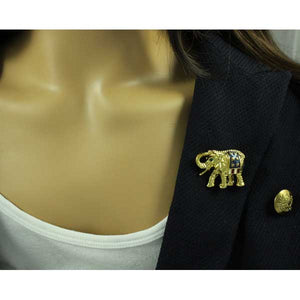 Model with Gold-plated Patriotic Elephant with Red, White, and Blue Brooch Pin - Lilylin Designs