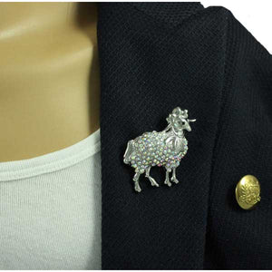 Silver Sheep with Aurora Borealis Crystals Brooch Pin - PRA501S