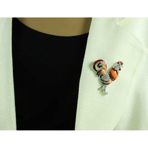 Model with Red and Orange Enamel and Crystal Rooster Brooch Pin - Lilylin Designs