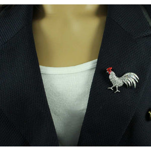 Model with Silver-tone Clear Crystal Rooster with Red Comb Brooch Pin - Lilylin Designs