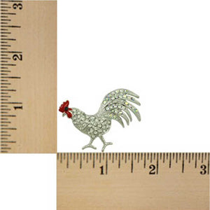 Silver-tone Clear Crystal Rooster with Red Comb Brooch Pin (sized) - Lilylin Designs