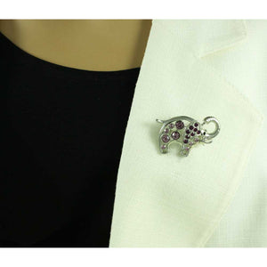 Model with Purple Crystal Elephant with Raised Trunk Brooch Pin - Lilylin Designs