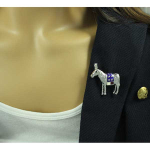Model with Patriotic Donkey Brooch - Lilylin Designs