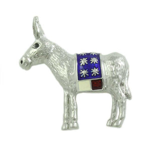 Silver-tone with Red, White, and Blue Patriotic Donkey Brooch Pin - Lilylin Designs