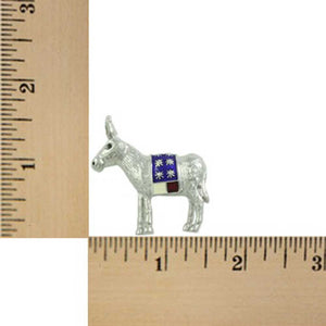 Silver-tone with Red, White, and Blue Patriotic Donkey Brooch Pin (sized) - Lilylin Designs