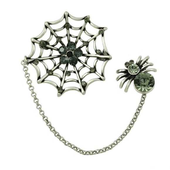 Black Diamond Crystal Spider and Web Halloween Brooch Pin - Lilylin Designs