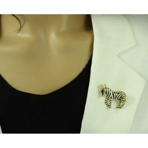 Model with Black and White Enamel Zebra Brooch Pin and Earring Gift Set (pin) - Lilylin Desgins