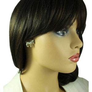 Model with Black and White Enamel Zebra Brooch Pin and Earring Gift Set (er) - Lilylin Desgins